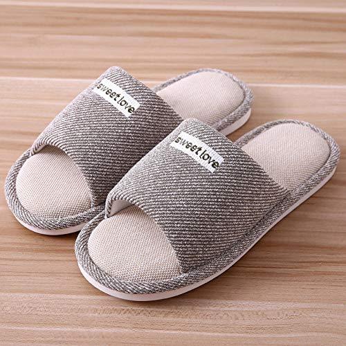 Zapatillas Casa Hombre Mujer Zapatillas De Algodón De Invierno para Hombre, Zapatillas Casuales A Rayas De Cáñamo para Hombre, Cómodas Zapatillas Antideslizantes para Interiores, Zapatos para El