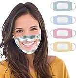 TBSDQLTEV - 4 bandane riutilizzabili, anti polvere, unisex, con finestra trasparente, espressione visibile per sordi