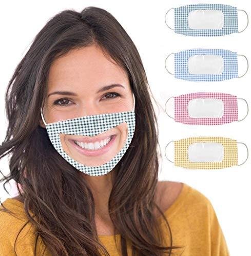 Paquete de 4 transparente, bucal de algodón reutilizable lavable, cubre pañuelos de protección, escudos con ventana transparente y orejeras ajustables