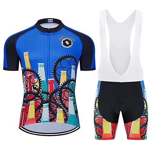 Los hombres de Ciclismo Trajes con 20D Gel Acolchado Babero Pantalones Cortos MTB Ropa Ciclismo Conjunto Conjunto de Ropa de Verano Conjunto para Hombres Cerveza Ciclismo Jerse, verano, Hombre, color azul, tamaño 4XL