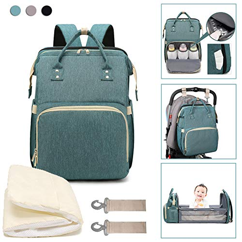 3 in 1 Travel Bassinet Baby Foldable Diaper Changing Station Portable Crib Baby Nappy Changing Bag for Newborn Baby Toddler, Travel Crib Infant Sleeper, Baby Nest with Mattress (Green)