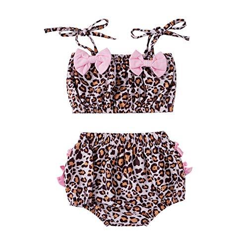 Traje de baño para niñas, Traje de baño con Volantes Florales, Trajes de Bikini de Traje de baño de Leopardo de Dos Piezas