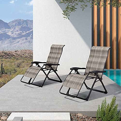 PURPLE LEAF Juego de 2 tumbonas plegables para jardín, tumbona de jardín con respaldo alto, silla de camping para terraza, césped, jardín, cubierta, piscina, color gris