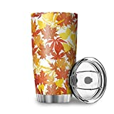 Otoño hojas otoño doble pared taza de café con tapa de acero inoxidable vaso elegante para el hogar blanco 20 oz