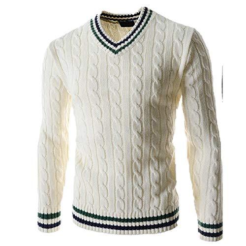 Herren Pullover Mode Herbst Solid Slim Fit Pullover Herren V-Ausschnitt Casual Pullover und Pullover Gr. X-Large, weiß
