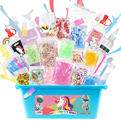 ESSENSON DIY Unicorn Slime Making Kit - 2 in 1 Slime Supplies [53 Pieces Set in One Box] Make Your Own Clear Slime, Fluffy Cloud, Glitter and Foam Slime Age 6+ year old Girl Gifts Kids Art Craft Kit