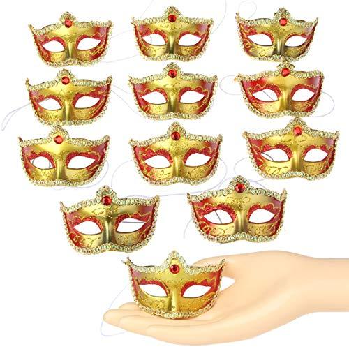 Mini-Masken für Kostüme, Party-Dekoration, luxuriöse kleine Masken, für Karneval, Partys, 12 Stück Einheitsgröße Set E-rot