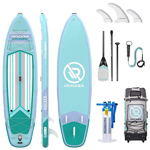 iROCKER All-Around Inflatable Stand Up Paddle Board 11' Long 32' Wide 6' Thick SUP Package | Blue 2019