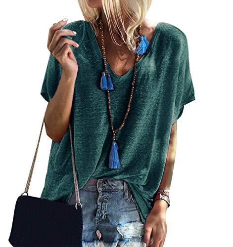 Camiseta Cuello V Mujer Oversize Larga Camisetas Manga Corta Escote V Mujeres Basicas Anchas Tops Verano Damas Casual Remeras Largas Chica Playeras Camisas Señora Blusas Amplias Túnico Verde 4XL