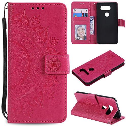 Generic Handyhülle für LG V30 / V35 / V30S Hülle Leder Schutzhülle Brieftasche mit Kartenfach Magnetisch Stoßfest Handyhülle Case für LG V35/V30/V30S ThinQ - XIHOH011221 Rot