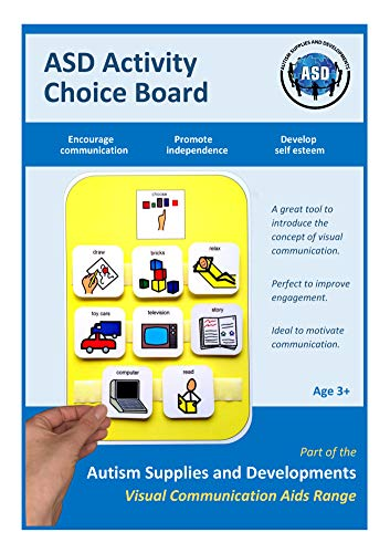 Autism Supplies And Developments A4 Plastic Visual ASD Activity Choice Board (Picture Communication Symbols)