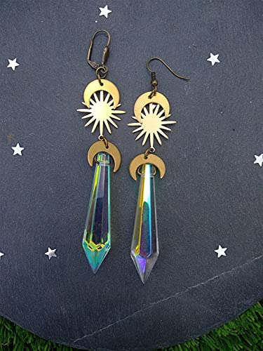 QWEQWE Pendientes Largos Pendientes de Cristal Pendientes Lunares Crescent Luna Sol y Luna Pendientes Raw and Gold (Main Stone Color : Hippie earhook)