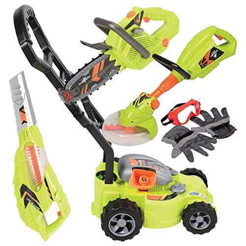 CP Toys Power Garden Tools - Push Mower, Chain Saw, String Trimmer, and Blower