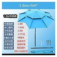 1.8m屋外ビーチキャンプ釣り傘折りたたみ太陽の保護アンチ紫外線サンシェード傘防水オーニング雨傘 (Color : Blue 1.8m black glue)