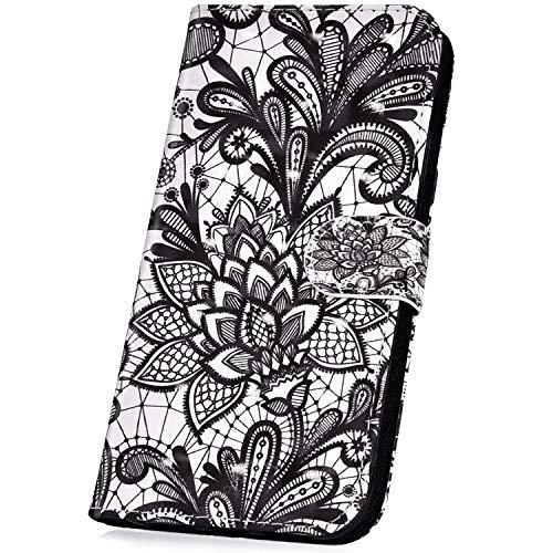 Surakey kompatibel mit Sony Xperia XA1 Ultra Hülle Schutzhülle 3D Glänzend PU Leder Flip Hülle Handyhülle für Sony Xperia XA1 Ultra Lederhülle Brieftasche Wallet Tasche Etui Kartenfach Ständer, Mandala