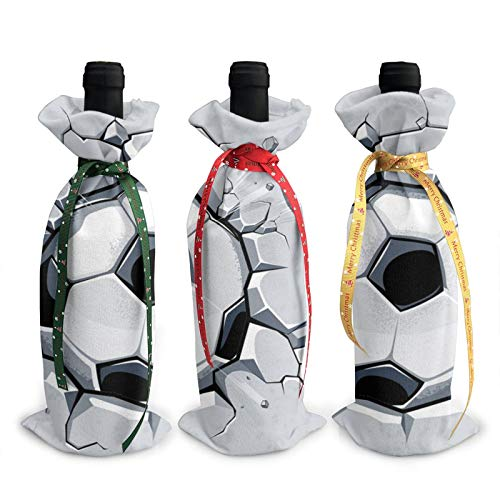 3pcs Christmas Wine Bottle Cover 3d Soccer Breaking Wall Wines Bottles Decoration Bags For Xmas New Year Party Birthday Dinner