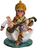 "Krishna Culture Mini Saraswati on Swan Statue 2.5"" Goddess of Learning Sarasvati Figurine Hindu Idol Golu Doll"