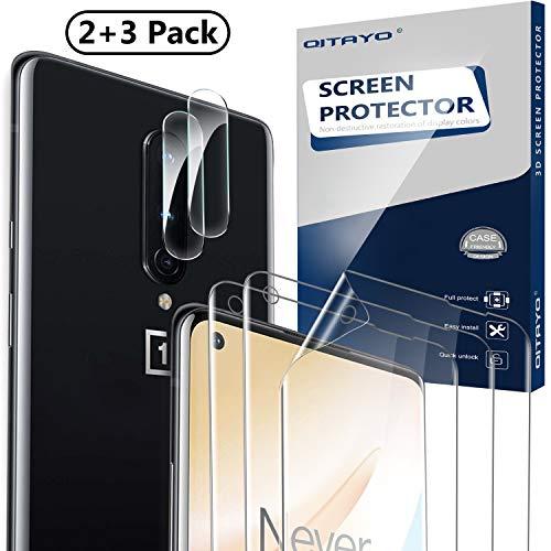 QITAYO Kamera Panzerglas+Schutzfolie für Oneplus 8, Elastische TPU Folie Displayschutzfolie für Oneplus 8, Unterstützen Fingerabdruck-ID, Hoch Transparenz (2+3 Stück)