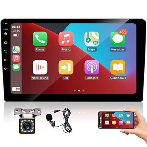 2 Din Autoradio 9 pollici Touch Screen, CarPlay e Android Auto Lettore multimediale universale per auto Bluetooth con ricevitore radio FM con telecamera per retromarcia+microfono, Mirror Link