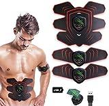 elettrostimolatore per addominali, elettrostimolatore muscolare professionale per braccio/gambe/glutei, ems con usb ricaricabile, 6 modalità e 9 livelli di intensità
