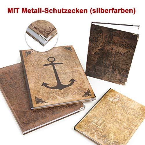 Logbuch-Verlag großes Vintage Notizbücher SET DIN A4 + A5 Weltkarte + Anker Motiv - 4 leere Bücher - Blanko zur freien Gestaltung Geschenk Geburtstag