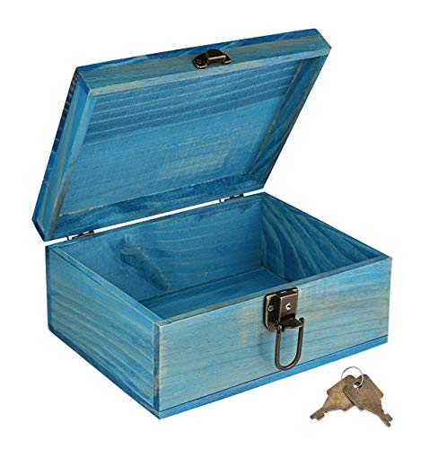 Wooden Keepsake Box, Dedoot Decorative Wooden Box Vintage Handmade Wood Craft Box with Lock and Key for Jewelry Gift Storage Box and Home Decor, Blue, 9.3x7.6x4.5 Inch