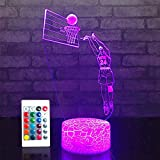 Night Light 24 Basketball Lights 16 Colors Change with Remote Control Optical Illusion Bedside Lamps for Adult or Kids as Birthday Gift or Holidays Present (24 Basketball)
