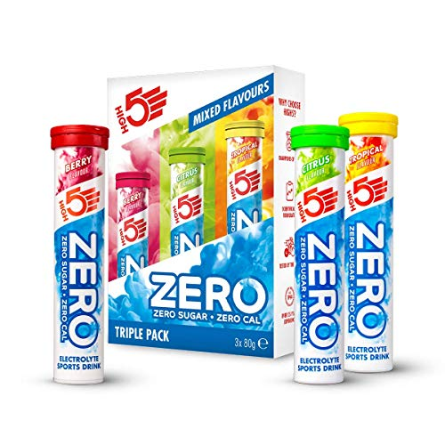 HIGH5 Zero Electrolyte Hydration Tablets Added Vitamin C (3 x 20 Tubes) (Triple Pack) (Berry, Citrus, Tropical)