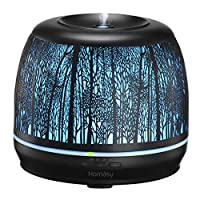 ♥PREMIUM MATERIALS♥ Homasy essential oil diffuser is engineered with metal shell with a forest-pattern design rather than just low-end plastic, serving for both functional and aesthetic ends. The diffuser looks gorgeous in your room and easily matche...
