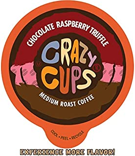 Crazy Cups Flavored Coffee for Keurig K-Cup Machines, Chocolate Raspberry Truffle, Hot or Iced Drinks, 22 Single Serve, Recyclable Pods