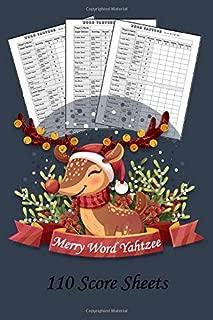 Merry Word Yahtzee: 110 Score Sheets  Christmas Edition  Gift