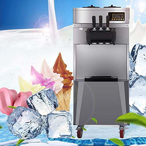New IXAER Commercial Ice Cream Machine 20L/H 1850W Stand Three Flavors 304 Stainless Steel Automatic...