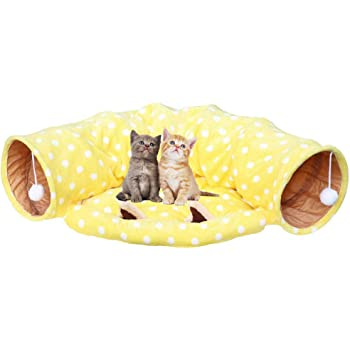 トンネル 猫 キャット 猫の寝袋 猫のトンネル キャット玩具 ペット用品 ボンボン 半月型 両用 折りたたみ式 運動不足対策(黄色い)