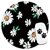 Cute Mouse Pad-Pretty Mouse Pad- Home & Travel Small Mouse Pad with Stickers - Round Mousepad with Design for Women & Kids - Daisy Customized Gaming Mouse Mat for Wireless Mouse Laptop Computer PC