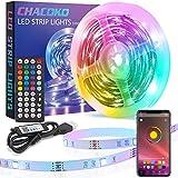 Tira LED 10M, CHACOKO USB Tiras LED RGB 5050 con Mando a Distancia de 44 Teclas, o Controlda por APP, Sincronización de Música,...