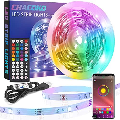 Ruban LED 10M, CHACOKO USB Bande LED RGB 5050 avec Télécommande 44 Touches, Contrôlée par APP, Synchronisation de la Musique, Mode Temporisation, 16 Millions de Couleurs, pour Chambre, Fête