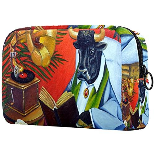 Kosmetiktasche Große Kosmetiktasche Reißverschlusstasche Reisekosmetik tragbarer Organizer Kulturbeutel Bull Cow Buch Wicker Chair für Frauen und Mädchen
