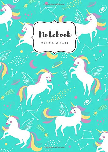 Notebook with A-Z Tabs: A5 Medium Lined Journal | Alphabetical Indexes | Star Zodiac Unicorn Design Turquoise