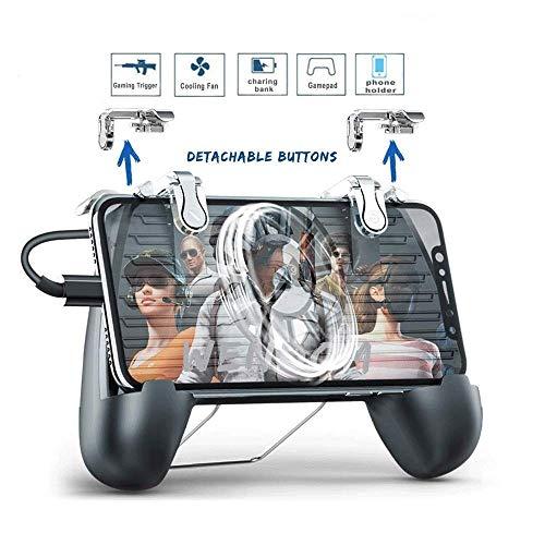 Mobile regulador del juego, juego de disparo sensible Grip Joystick Gamepad con el ventilador de refrigeración, Cargador portátil desmontable disparadores de teléfono Gamepad Compatible con Android y