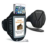 Phone Armbands for Running | Armpocket Racer Plus Ultra Thin Phone Armband | iPhone 8 Plus, 7 Plus, 6 Plus, Galaxy S7 Edge, Pixel 4a, Phones Without Cases up to 6.3 Inches | Black Small Strap
