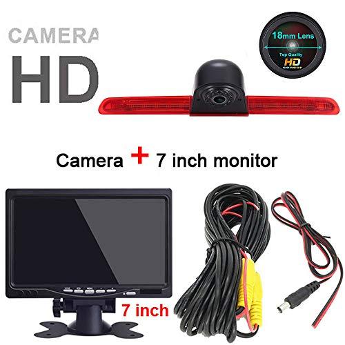 HD IP68 1280 * 720 pixels 1000TV lijnen achteruitrijsysteem achteruitrijcamera remlicht passend met hoek verstellen nachtversie IR-licht dakcamera voor V W T6 Caravelle bus Transporter MPV SUV, Achteruitrijcamera + 7 inch monitor.
