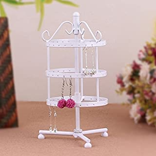 Holes Round Shaped Rotating Earrings Jewelry Metal Display Stand Rack Holder - Size S (White)