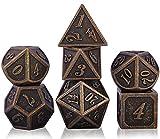Dados de Rol DND Dice Set de Metal Poliédrico, Juego de 7 Dados de Dragones y Mazmorras Juego de Mesa, Juegos de Rol para RPG Dungeon and Dragon D&D Enseñanza de Matemáticas (Barrel Bronze Plating)