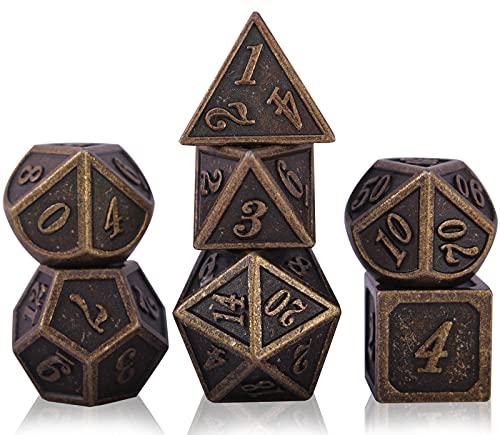 DND Dice Set per Dungeons And Dragons, Set di Dadi D&D Poliedrici Metallo DND, Dungeon And Dragon Dadi Set di Ruolo da Gioco Tavolo per Rpg con Una Scatola Metal per Dice (Barrel Bronze Plating)