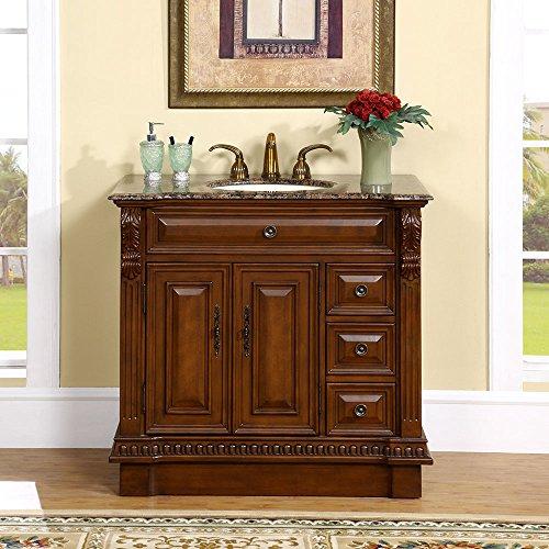 Silkroad Exclusive HYP-0211-BB-UIC-38 Countertop Granite Stone Single Sink Bathroom Vanity with Cabinet, 38', Medium Wood