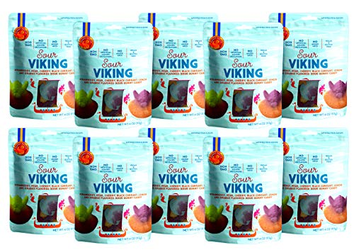 Candy People Sour Viking Gummy Candy 4 Ounce - Non-GMO Vegan Swedish Candy Gummies (10 Pack)