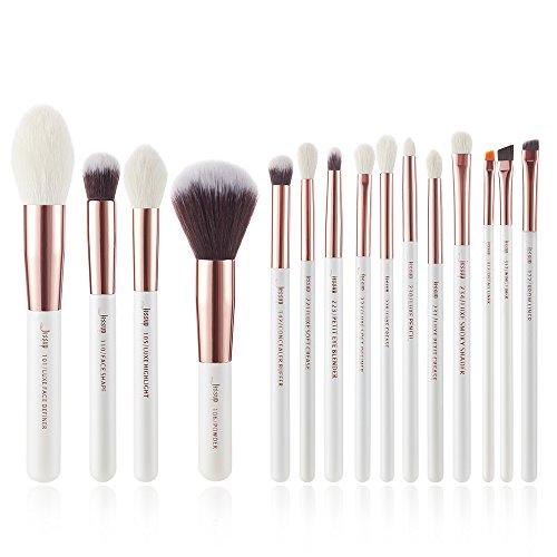 Jessup Make Up Pinsel Set 15 Stück Kosmetik Schmink Bürsten Professionelle Gesicht Brushes Lidschatten Puder Weiß Rosegold T222