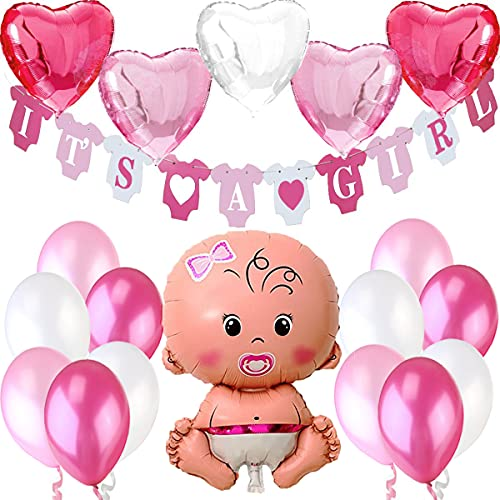 Decorazioni Festa Nascita Bambina. Festone é Femmina It's A Girl+1 Palloncino Rosa a Bimba Neonata Femminuccia +5 Palloncini a Cuore +12 Palloncini. Accessori Battesimo e Baby Shower