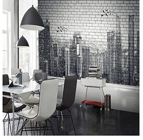 Shuangklei Moderne Stadt Fototapeten 3D Brick Stone Wallpapers Für Wohnzimmer Schlafzimmer Tapeten Wohnkultur Vintage Black Street Wandbild-120X100Cm