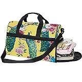 QMIN - Bolsa de viaje con cremallera y correa para mujer, diseño de pavo real